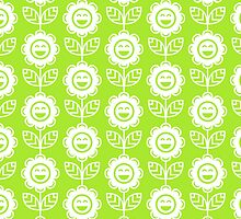 Lime Green Fun Smiling Cartoon Flowers by ImageNugget
