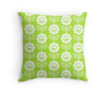 Lime Green Fun Smiling Cartoon Flowers Throw Pillow