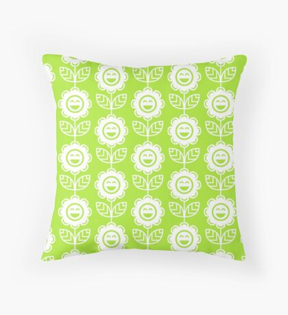 Lime Green Fun Smiling Cartoon Flowers Throw Pillow