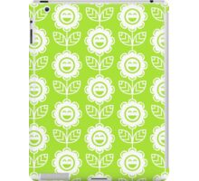 Lime Green Fun Smiling Cartoon Flowers iPad Case/Skin