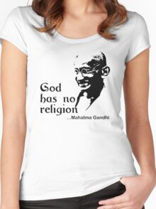 """Gandhi """"God Has No Religion"""" T-Shirt Women's Fitted Scoop T-Shirt"""