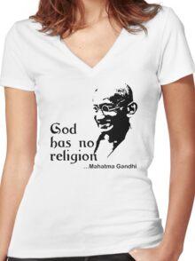 "Gandhi ""God Has No Religion"" T-Shirt Women's Fitted V-Neck T-Shirt"