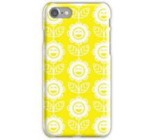 Yellow Fun Smiling Cartoon Flowers iPhone Case/Skin