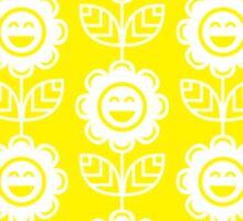 Yellow Fun Smiling Cartoon Flowers Sticker