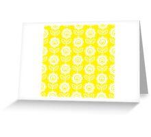 Yellow Fun Smiling Cartoon Flowers Greeting Card