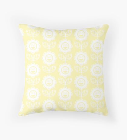 Cream Fun Smiling Cartoon Flowers Throw Pillow