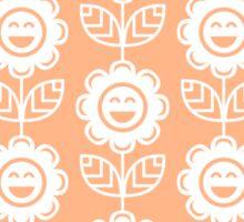 Peach Fun Smiling Cartoon Flowers Sticker