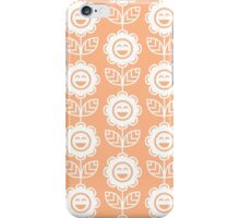 Peach Fun Smiling Cartoon Flowers iPhone Case/Skin