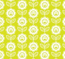 Chartreuse Fun Smiling Cartoon Flowers by ImageNugget