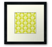 Chartreuse Fun Smiling Cartoon Flowers Framed Print