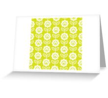 Chartreuse Fun Smiling Cartoon Flowers Greeting Card