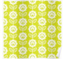 Chartreuse Fun Smiling Cartoon Flowers Poster