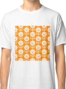 Orange Fun Smiling Cartoon Flowers Classic T-Shirt