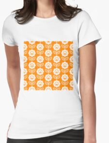 Orange Fun Smiling Cartoon Flowers Womens Fitted T-Shirt
