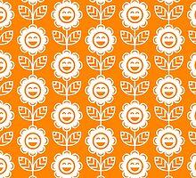 Orange Fun Smiling Cartoon Flowers by ImageNugget