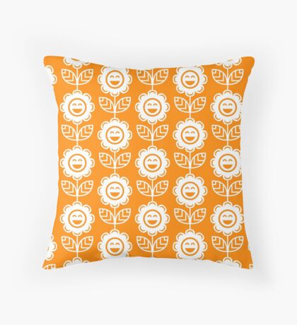 Orange Fun Smiling Cartoon Flowers Throw Pillow