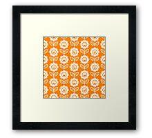 Orange Fun Smiling Cartoon Flowers Framed Print