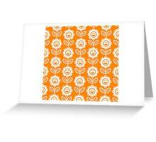 Orange Fun Smiling Cartoon Flowers Greeting Card