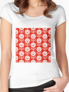 Red Fun Smiling Cartoon Flowers Women's Fitted Scoop T-Shirt