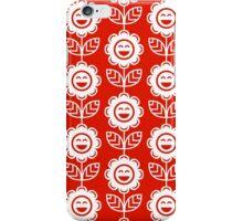 Red Fun Smiling Cartoon Flowers iPhone Case/Skin