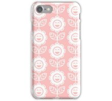 Light Pink Fun Smiling Cartoon Flowers iPhone Case/Skin