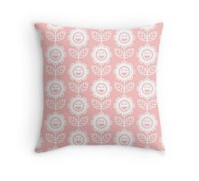 Light Pink Fun Smiling Cartoon Flowers Throw Pillow