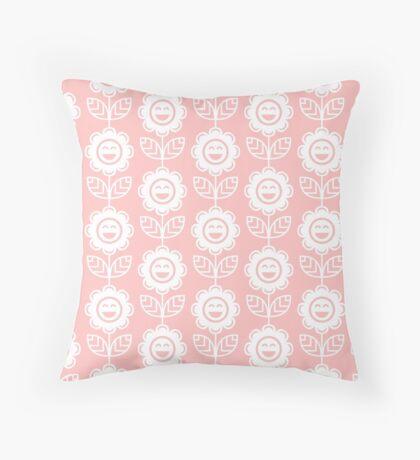 Light Pink Fun Smiling Cartoon Flowers Throw Pillow
