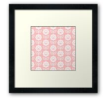 Light Pink Fun Smiling Cartoon Flowers Framed Print
