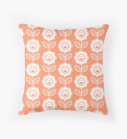 Coral Fun Smiling Cartoon Flowers Throw Pillow