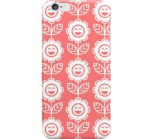 Pink Fun Smiling Cartoon Flowers iPhone Case/Skin