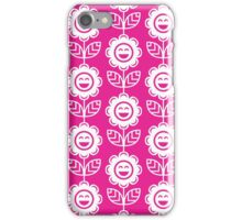 Hot Pink Fun Smiling Cartoon Flowers iPhone Case/Skin