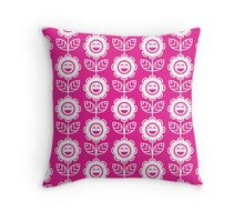 Hot Pink Fun Smiling Cartoon Flowers Throw Pillow