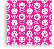 Hot Pink Fun Smiling Cartoon Flowers Canvas Print