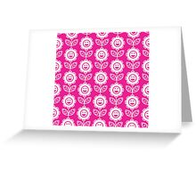 Hot Pink Fun Smiling Cartoon Flowers Greeting Card