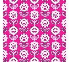 Hot Pink Fun Smiling Cartoon Flowers Photographic Print