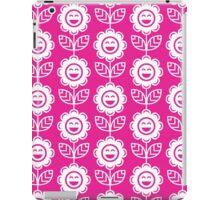 Hot Pink Fun Smiling Cartoon Flowers iPad Case/Skin