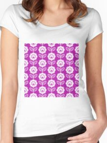 Magenta Fun Smiling Cartoon Flowers Women's Fitted Scoop T-Shirt