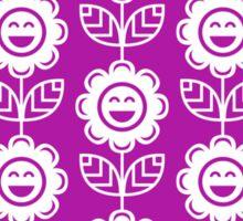 Magenta Fun Smiling Cartoon Flowers Sticker