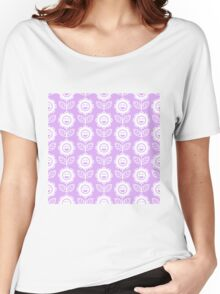 Lilac Fun Smiling Cartoon Flowers Women's Relaxed Fit T-Shirt