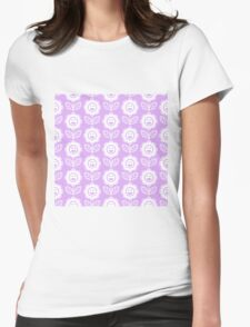 Lilac Fun Smiling Cartoon Flowers Womens Fitted T-Shirt