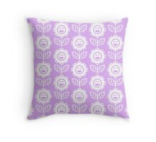 Lilac Fun Smiling Cartoon Flowers Throw Pillow