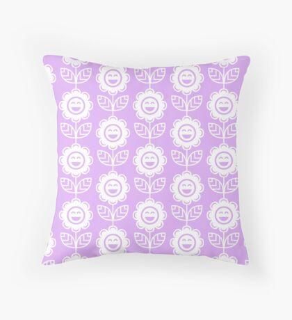 Lilac Fun Smiling Cartoon Flowers Throw Pillow
