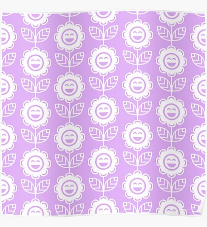Lilac Fun Smiling Cartoon Flowers Poster