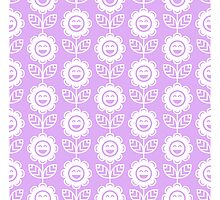 Lilac Fun Smiling Cartoon Flowers Photographic Print