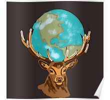 Earth on Deer Poster