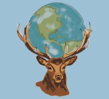 Earth on Deer One Piece - Short Sleeve