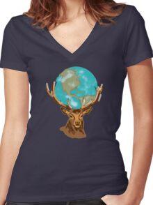Earth on Deer Women's Fitted V-Neck T-Shirt
