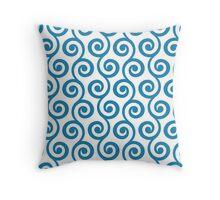 Blue Geometric Swirl Pattern Throw Pillow