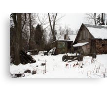 In winter - old farmer house Canvas Print