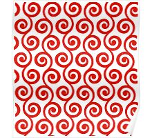 Red Geometric Swirl Pattern Poster